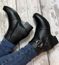 Black Ankle Boot Size 7 Zip Up Quilted Buckle Detail Faux Leather