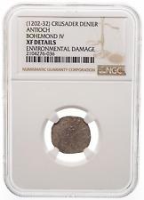 CRUSADERS. Bohemond IV Silver Denier, 1202-32 AD. NGC XF Details