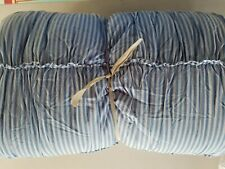 Pottery Barn Rosie Ticking stripe Ruched Blue Quilt Full Queen #2972