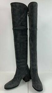 Stuart Weitzman Tieland Gray Suede Over the Knee Boots with Heels Size 6.5