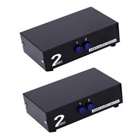 2 Pcs 2 In 1 Out Video Audio AV 3 RCA Switch Switcher Selector Box Splitter