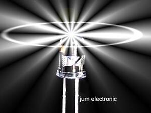 10 Stück Leuchtdioden  /  Led / 8mm /  WEIß 16000mcd / Tageslichtweiß / ~ 5200 K