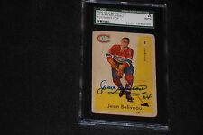 HOF JEAN BELIVEAU 1959-60 PARKHURST SIGNED AUTOGRAPHED CARD #6 SGC SLABBED