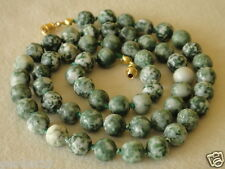 "Natural Green Tree Agate COLLANA 8mm perline 23 ""Healing HAND Knotted Spot agate"