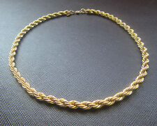 "Vintage MONET DIAMOND CUT ROPE TWIST CHAIN CHOKER NECKLACE 15"" Gold Tone Estate"