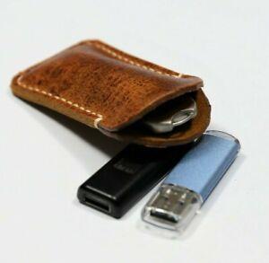 Leather flash drive holder Vintage soft leather USB flash drive case blue, brown