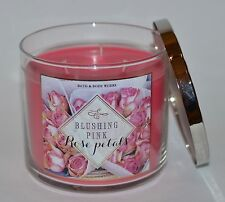 BATH & BODY WORKS BLUSHING PINK ROSE PETALS SCENTED CANDLE 3 WICK 14.5 OZ LARGE