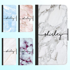Galaxy S9 S8 Plus S7 Note 8 Flip Wallet Case Marble IV Personalised Initial Name