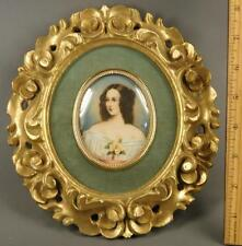 "Antique Italian Painted Miniature Portrait  Florentine Gilt Wood Frame Signed"""