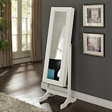 White Free Standing Mirror Jewelry Armoire Storage Furniture Home Living Bedroom