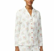 Charter Club Women's Petite Fleece Long Sleeve Pajama Top ONLY White Small NWT