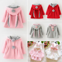 Baby Girls Kids Rabbit Ear Bunny Hoodie Coat Winter Warm Jacket Outwear Snowsuit