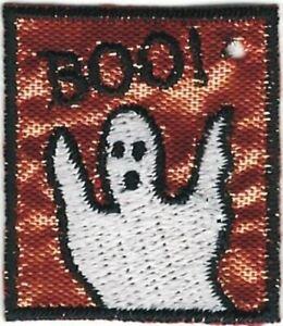 "Noir "" Boo "" Blanc Fantôme Halloween Broderie Brillant Orange Patch"