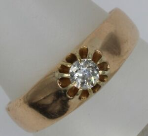 Mens 18ct gold 25 point natural diamond gypsy ring.4.1grams.Size U.