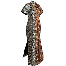Custom Tall Cheongsam Black Gold Dragon Lady Qípáo Pin Up Maxi Dress M Medium