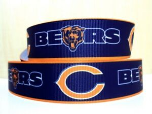 """By the Yard 7/8"""" Inspired by Chicago Bears Football Grosgrain Ribbon Lisa"""