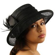 1920s Sinamay Ribbon Feathers Jewels Cloche Bell Flip Bucket Church Hat Black