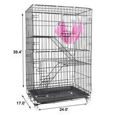 "39"" New Homey Pet Folding Wire Cat Ferret Chinchilla Cage Crate w Tray &Hammock"