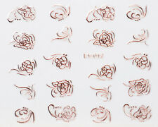 Rose Gold Metallic Roses Scrolls 3D Nail Art Sticker Decal UV Gel Polish