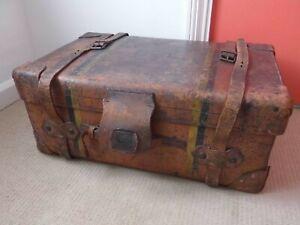 Antique Victorian Leather Travel Portmanteau Trunk