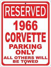"""1966 66 Corvette Chevrolet Novelty Reserved Parking Street Sign 9""""X12"""" Aluminum"""