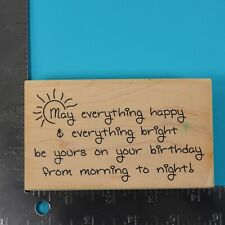 May Everything Happy Word Phrase Sayings Wood Mounted Stamp Verses Rubber Stamps