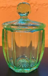 Vintage Translucent Green US Glass Depression Mustard Jam Jelly Jar