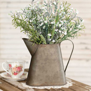 """8.25"""" Tall Metal Pitcher with Handle - Farmhouse, Country Decor"""