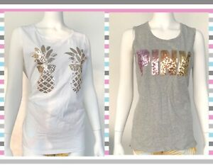 Victoria Secret Pink Tank Top Sequin Logo Pink White Grey Pineapple  XS L NWT