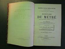 DICTIONNAIRE DU METRE - O MASSELIN (Signé de l'auteur Ed Ducher&Cie 1879) (Rare)