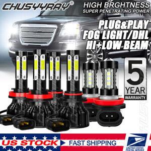 For GMC Terrain 2010-2015 4-Sides LED Headlight Hi/Lo + Fog Light Bulbs Kit