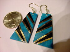 NATIVE ARTIST FABIEN CORRIZ SANTO DOMINGO SILVER & TURQUOISE INLAY EARRINGS (ap)