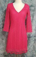 Lilly Pulitzer Womens sz S Neon Pink Floral Crochet Deep V Tassel Shift Dress