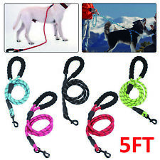 5FT Dog Leash Braided Rope Pet Leads Strong Soft for Medium Large Dogs Walk UK