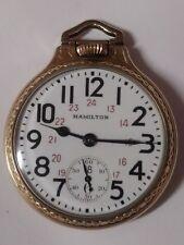 """SALE!! Hamilton 16sz 21 jewel 992E """"Elinvar"""" RR pocket watch! 24hr Dial-BOC Case"""