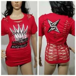 "Altered WWE Wrestler Shinsuke Nakamura ""Strong Style"" Printed Shirt Womens Large"