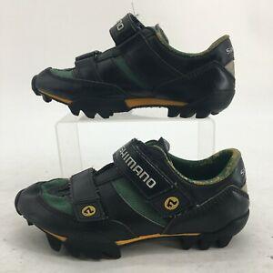 Shimano Cycling Shoes Womens 37 Black Green Hook & Loop SH-M080