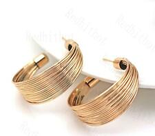 Dangle Stud Cocktail Jewelry L8 18K Gold Filled Earrings Multilayer Half-terete