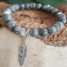 Native Silver  Feather Spirit Healing Gray Lace Jasper Beaded Stretch Bracelet