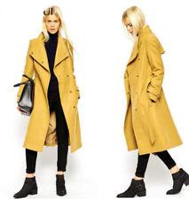 Womens Long Parka Lapel Belt Trench Wool Blend Knee Length Overcoat Spring New