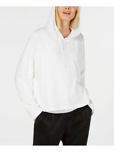 EILEEN FISHER Womens White Long Sleeve Hooded Top Size: L