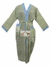Hand Block Boho Dress Bathrobe 100%Cotton Voile Fabric Sleepwear Kimono Green