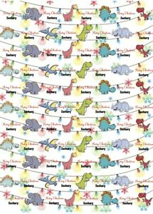Personalised Dinosaurs Christmas Wrapping Paper