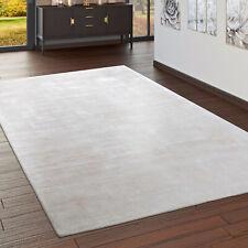 Teppich Handgefertigt Hochwertig 100 % Viskose Vintage Aufällig Meliert In Creme