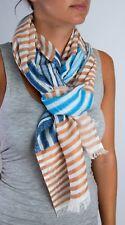 Tolani 15108 Beige Blue  Stripe Multi  90% Cotton 10% Linen Scarf
