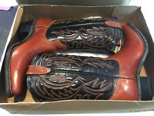 TEXAS BRAND BROWN LEATHER COWBOY / WESTERN BOOTS CONTRAST STITCHING SZ  8 1/2 D