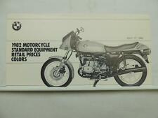 1982 BMW Motorcycle Standard Equipment Retail Prices Colors Brochure L6576