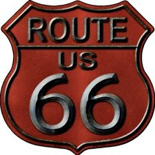 "Route 66 Red 11"" Highway Shield Metal Sign Novelty Retro Home Wall Decor"