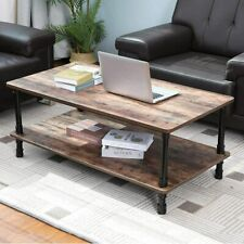 Industrial Sofa Side End Table Accent Table Nightstand Shelf Storage Wood Look