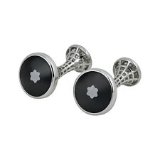 Montblanc Heritage Skeletted Steel Cuff Links with Black Glass Inlay 111315